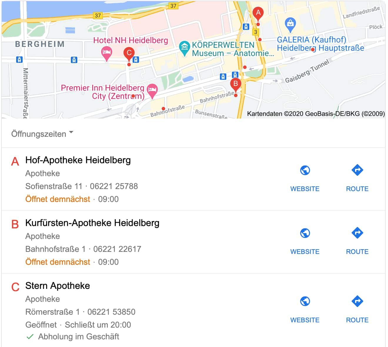 GMB-Einträge von Apotheken Beispiel Heidelberg
