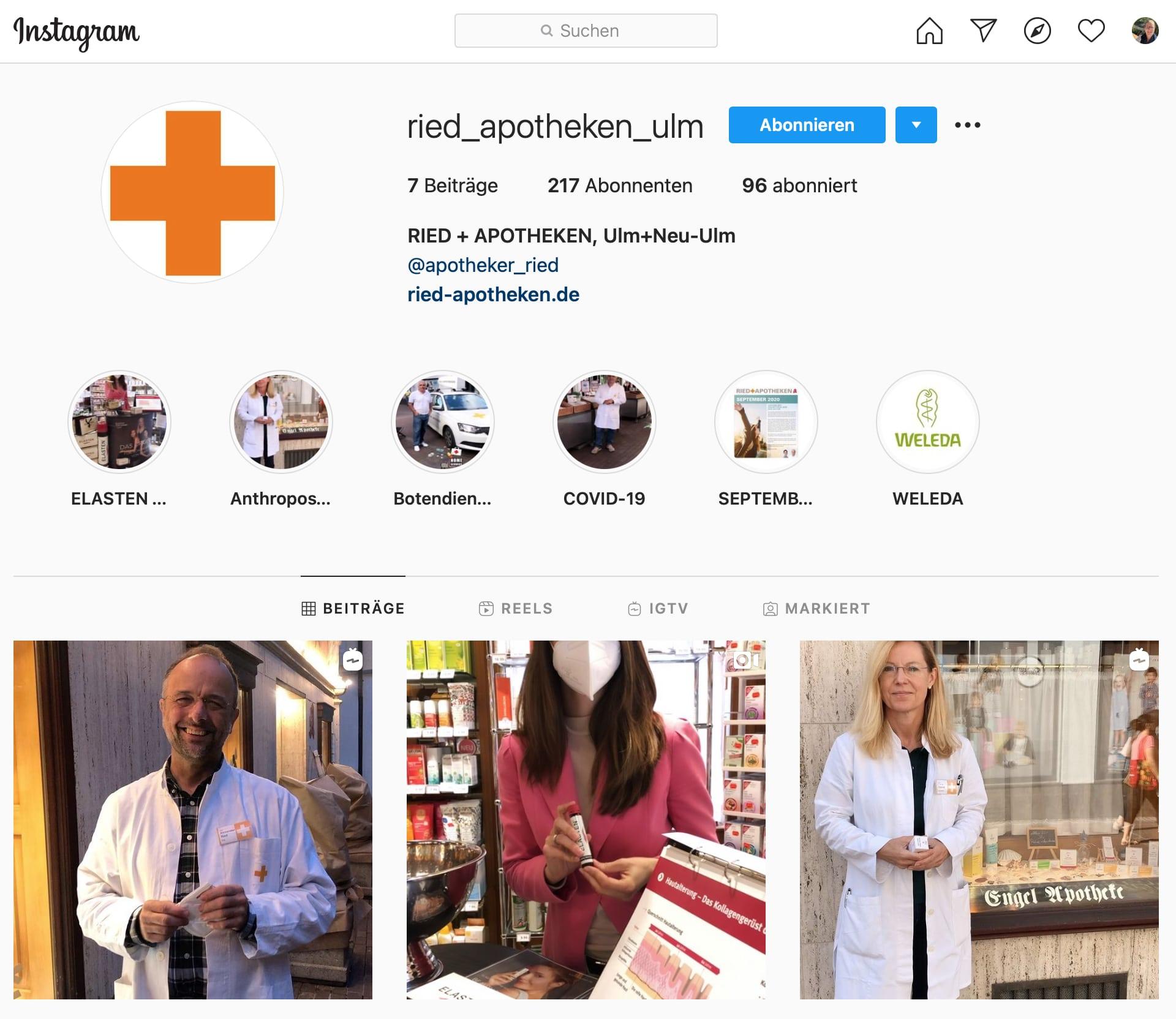 Gutes Beispiel Instagram für Apotheken